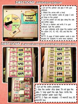 Interactive Notebook Activities - Adding and Subtracting 10 and 100 {2.NBT.8}