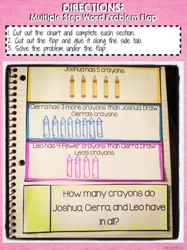 Interactive Notebook Activities - Addition Word Problems with 3 Numbers {1.OA.2}