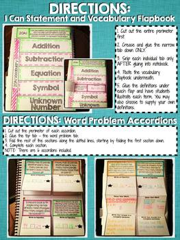 Interactive Notebook Activities - Addition/Subtraction Word Problems {2.OA.1}