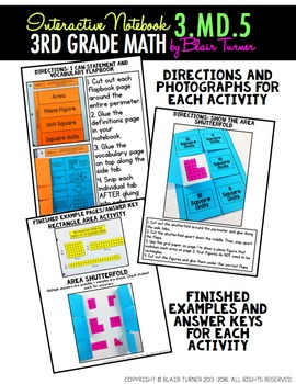 Interactive Notebook Activities - Area Concepts {3.MD.5}
