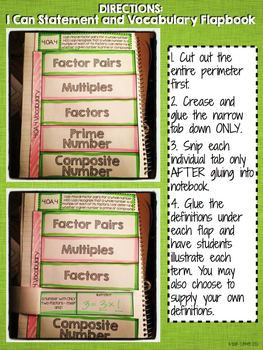 Interactive Notebook Activities - Factors and Multiples {4.OA.4}