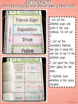 Interactive Notebook Activities - Meaning of the Equal Sign {1.OA.7}