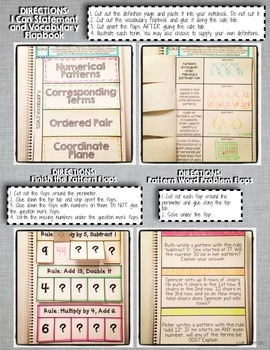 Interactive Notebook Activities - Patterns and Coordinate Planes {5.OA.3}