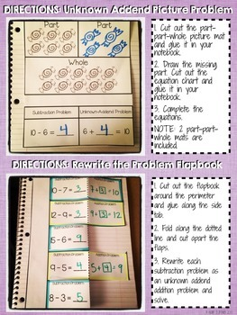 Interactive Notebook Activities - Subtraction as Unknown-Addend {1.OA.4}