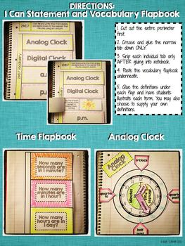 Interactive Notebook Activities - Telling Time to the Nearest 5 Minutes {2.MD.7}
