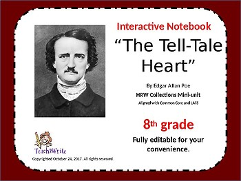 "Interactive Notebook Activities ""The Tell-Tale Heart"" HRW Collections Grade 8"
