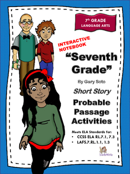 """""""Seventh Grade"""" by Gary Soto Interactive Notebook Activities"""