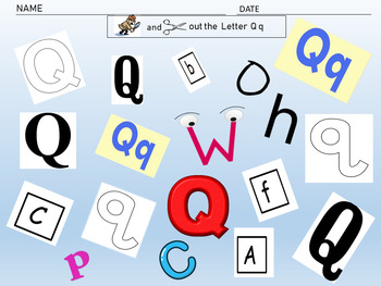 "Interactive Notebook Activity-The letter Q ""Editable"""