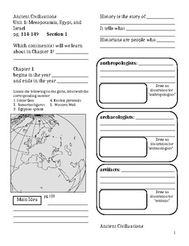 Interactive Notebook: Ancient Civilizations, Chapter 1 - The First Civilizations