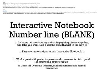 Interactive Notebook BLANK Number Line