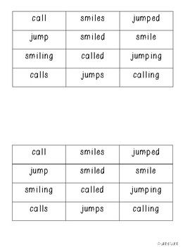 Interactive Notebook Base Words with endings -ing -s -ed