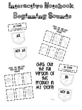Interactive Notebook Beginning Sounds FREE Sample