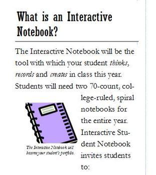 Interactive Notebook Brochure