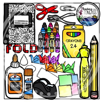 Interactive Notebook School Supplies Clipart (School Clipart)