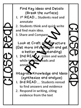 Interactive Notebook Close Read Notes