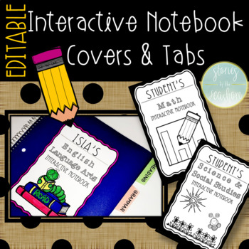 Interactive Notebook Cover & Tabs for Reading, Math, Social Studies, & Science