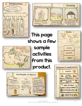 Interactive Notebook Celebrating Cultures of North America & Caribbean 3rd Grade