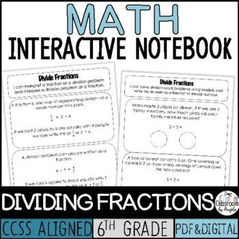 Interactive Notebook Dividing Fractions