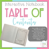 Interactive Notebook EDITABLE Table of Contents / Unit Cover Page