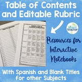 Interactive Notebook Editable Rubric and Table of Contents