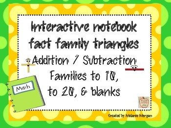 Interactive Notebook Fact Family Triangles with Facts to 10, 20, & blanks