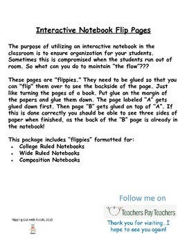 "Interactive Notebook ""Flip"" Page Templates"