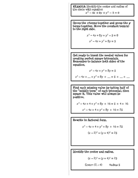 Interactive Notebook Foldable: Completing the Square with Circles