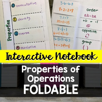 Interactive Notebook Foldable Notes: Properties of Operations