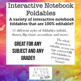 Interactive Notebook Foldable Templates **Editable!!**