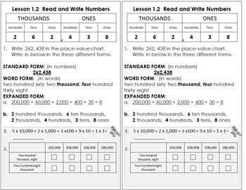 Interactive Notebook Go Math Chapter 1 Notes Grade 4