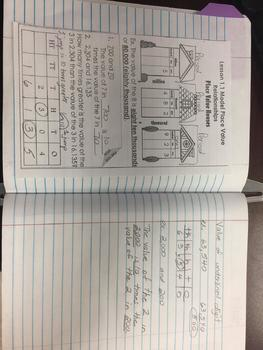 Interactive Notebook Go Math Chapter 1 Notes Grade 4