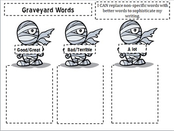 Interactive Notebook-Graveyard Word Cut-Outs