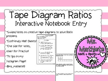 Interactive Notebook Guided Notes on Part to Part Ratio Tape Diagrams