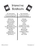 Interactive Notebook Handout
