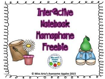 Interactive Notebook - Homophone Freebie!