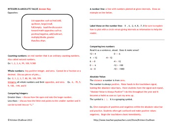 Interactive Notebook: Integers and Absolute Value Guided Notes