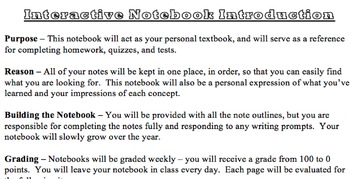 Interactive Notebook Introduction, Rubric, and Table of Contents