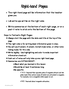 Interactive Notebook Lefthand Righthand Page Descriptions