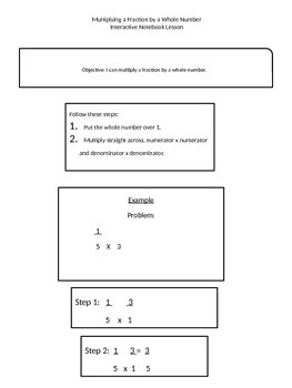 Interactive Notebook Lesson: Multiplying a fraction by a whole number