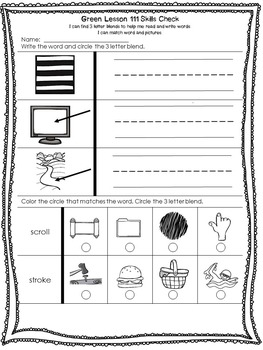 LLI Anchor Charts Skill Assessment Lesson Template Booster Green K 1st Edition