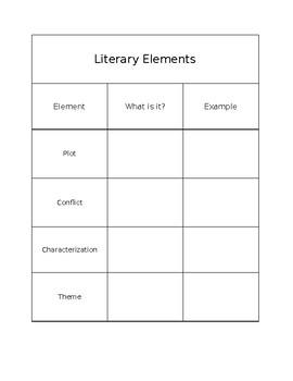 Interactive Notebook Literary Elements Graphic Organizer