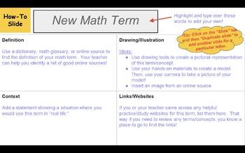 Digital Notebook - Math Dictionary