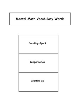 Interactive Notebook- Mental Math