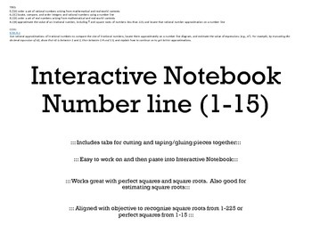 Interactive Notebook Number Line 1-15