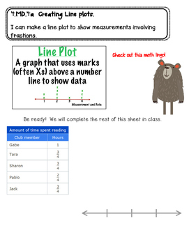 Creating Line Plots Interactive Notebook Page- 4.MD.4a