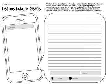 Interactive Notebook Page- Let Me Take A Selfie