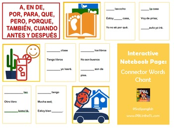 Interactive Notebook Page: Spanish Connector Words Chant