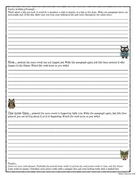 Language Conventions- Verbs Interactive Notebook Pages