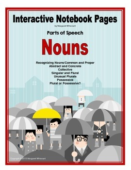 Interactive Notebook Pages Parts of Speech Nouns CCSS Aligned