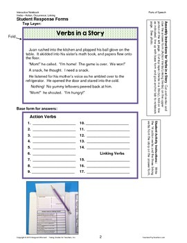 Interactive Notebook Pages  Parts of Speech Verbs CCSS Aligned